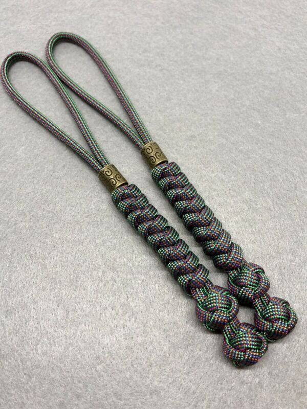 550 Paracord Knife Lanyard 2pk, Chameleon Cord Snake Knot With Brass Bead