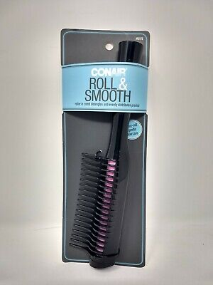 Conair Roll & Smooth Detangling Roller In Comb, Black/Purple, Brand New