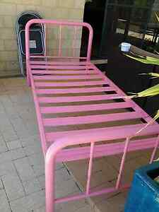 Pink single pipeline bed with matress, sheets and doona Leda Kwinana Area Preview
