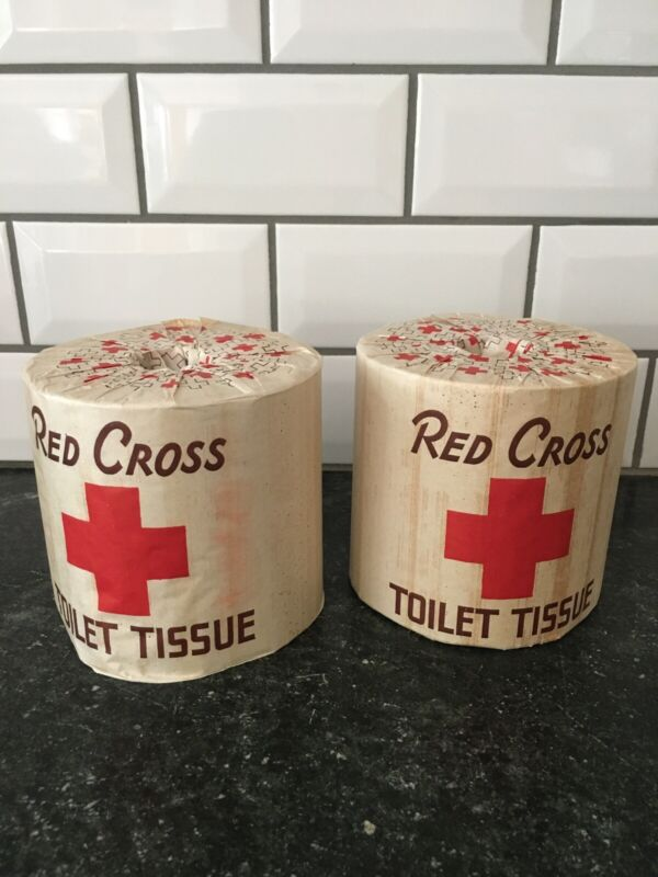 2 Rolls of Antique Vintage A.P.W. RED CROSS Brand Toilet Paper Tissue