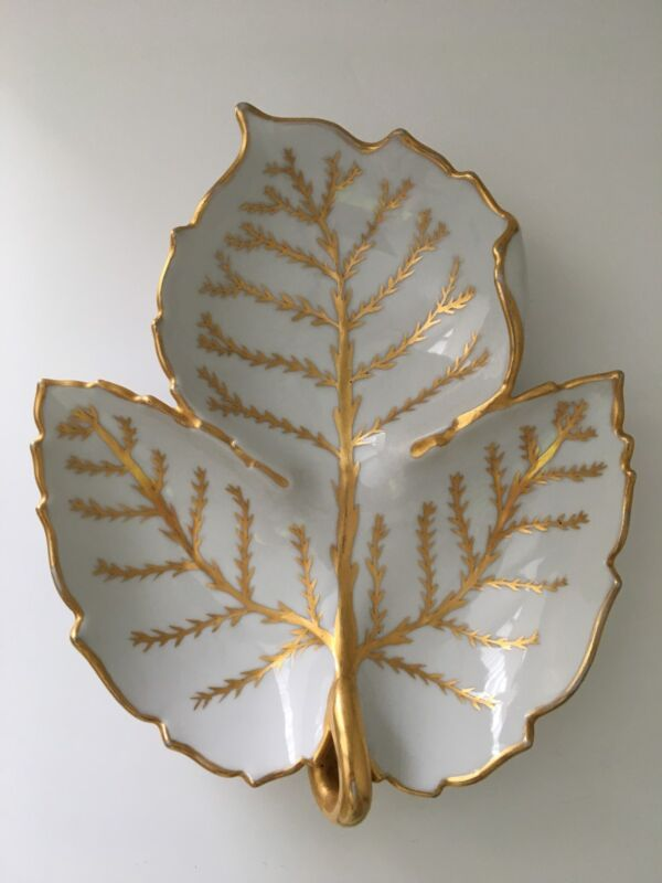 Dish 3 way divided porcelain Leaf w/gold hand painted trim by Anne W. Breinin