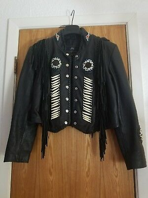 * VINTAGE ~HERITAGE COLLECTION BLACK LEATHER BIKER W/FRINGE & BRAIDING* INDIAN..