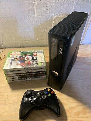 Microsoft Xbox 360 Slim -Black Console (PAL) W/ Games (10)