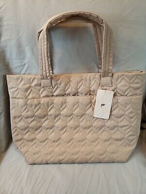Fabletics The Quilted Tote III ♡ Beautiful Tan Color, Removable Shoe Bag ♡ New ♡