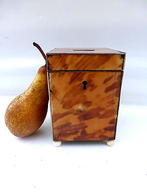 "RARE & IMPORTANT ANTIQUE ""FAUX"" TORTOISESHELL ""CUBE"" TEA CADDY ""LORD BYRON"" LINK"
