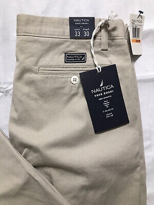 Nautica True Khaki Pants Mens Size 33x30 Pleated Cuffed Stone Cotton Chinos NWT