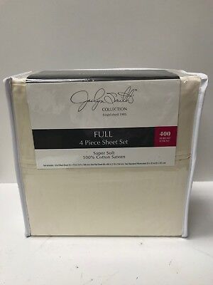 Jaclyn Smith Collection 400 Thread Count Super Soft 100% Cotton Sateen Sheet Set