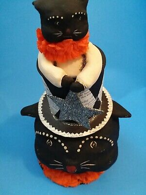 Retired Bethany Lowe Dee Foust Halloween Black Cats Top Hat Decoration - HTF