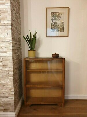 VINTAGE WOODEN BOOKCASE WITH SLIDING GLASS DOORS