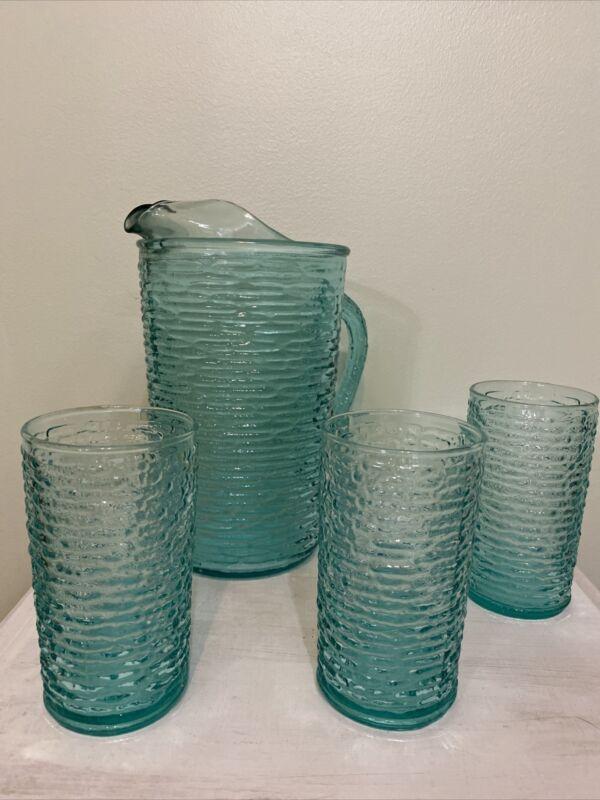 Anchor Hocking Soreno Aquamarine Pitcher & 3 Juice Glasses