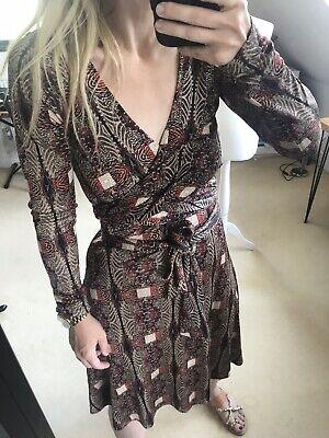 Issa London Silk Wrap Dress 10 Midi Knee Length