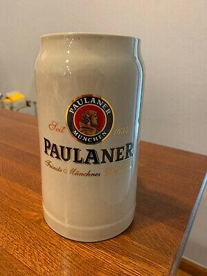 PAULANER MUNCHEN BEER STEIN CERAMIC BAR MUG WEST GERMANY MUNICH 1 LTR 7.5