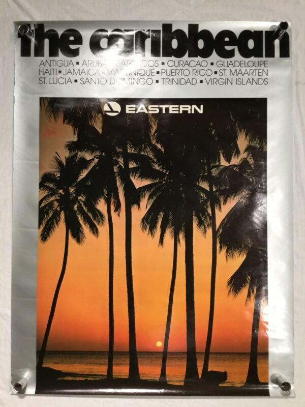 Vintage Eastern Airlines Poster / The Caribbean Palm Trees Sunset Virgin Islands