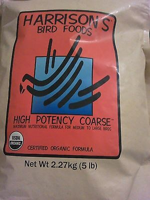 5 lb BAG Bird Food Pellets HARRISONS High Potency COARSE Organic Amazon Macaw
