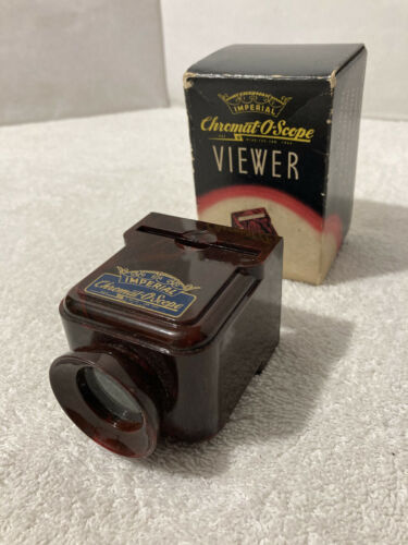 Vintage IMPERIAL CHROMAT-O-SCOPE SLIDE & STRIP FILM VIEWER w Orig Box; Bakelite