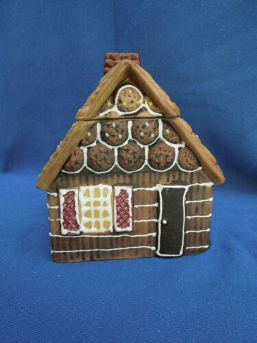 """Vintage Cookie Jar Ceramic Gingerbread House Made In Japan 8""""X7""""X6.5"""" Enesco"""