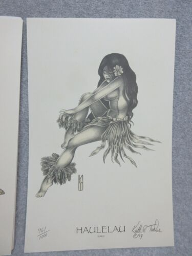 "Hawaiian HAULELAU Fall GIRL Signed Numbered LE 11"" x 17 ""ART PRINT  KEITH TUCKER"