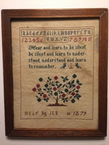 Antique Original 19th Century Sampler Framed Apple Tree Birds 1879 Old #1