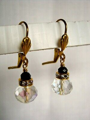 Small Vintage Drop Earrings Clear AB w Black Crystal Glass Antiqued Bronze ()