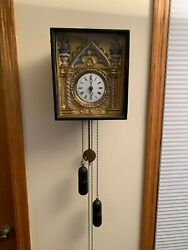 Vintage Antique German Black Forest Picture Frame Wall Clock w/ Wood Plates