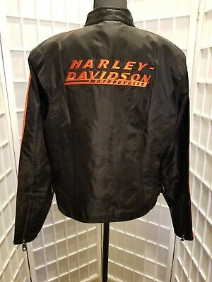 *New* Harley Davidson Men's Size Large Black and Orange Jacket 100% Nylon