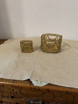 Vintage Hollywood Regency Ormolu Gold Filigree 2 Cherub /Lipstick Holders
