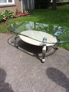 Glass marble metal Coffee Table and End table