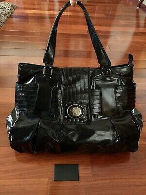 Versace Large Black Patent Leather Tote Bag  Medusa Head Handbag Shoulder Bag