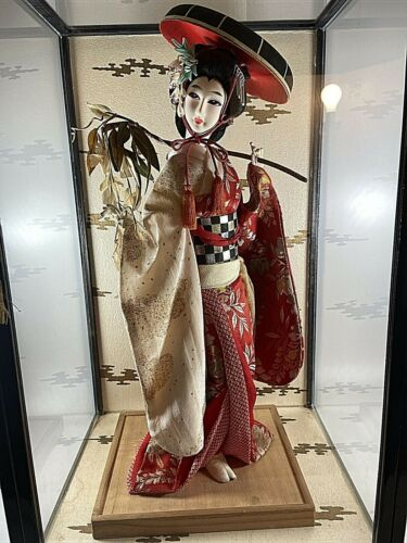 Vintage Japanese Fujimusume Geisha Doll, 16 inch Tall, in Glass Case