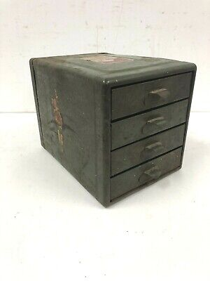 Vintage Metal Cabinet Organizer 4 Drawer Pull Out Parts Bin Industrial Steel 50s
