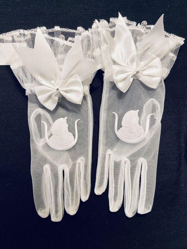 Eastern Star DOI Ladies Auxiliary OES Shriner Chiffon Mason gloves