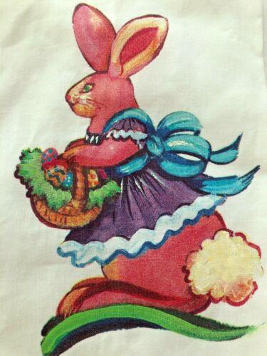 Linen Tea Towel Mrs Bunny Rabbit Easter Hand Painted Basket Eggs Accent Decor
