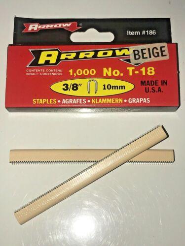 """ARROW T18 round crown staples #186 3/8"""" (BEIGE) 1000pk"""
