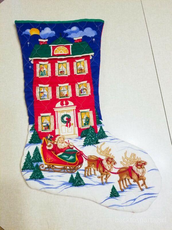 VINTAGE LARGE FABRIC CHRISTMAS STOCKING A VISIT FROM ST NICHOLAS SANTA REINDEER
