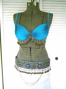 Professional-Tribal-belly-dance-costume-Coins-Bra-Belt-Set
