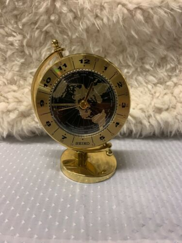 Seiko World Time Desk / Mantle / Table Clock Shiny Brass Gimbaled