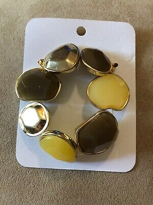 Gold Tone Brown and Bronze Elastic Bracelet Cuff  #512
