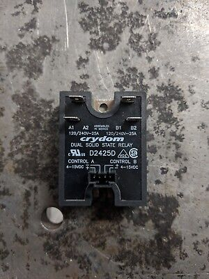 Crydom D2425d Dual Ssr Solid State Relay 24-280vac 25a 4-15vdc Used Working