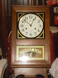 VINTAGE REGULATOR WALL CLOCK-- A GOOD BARBER SHOP CLOCK