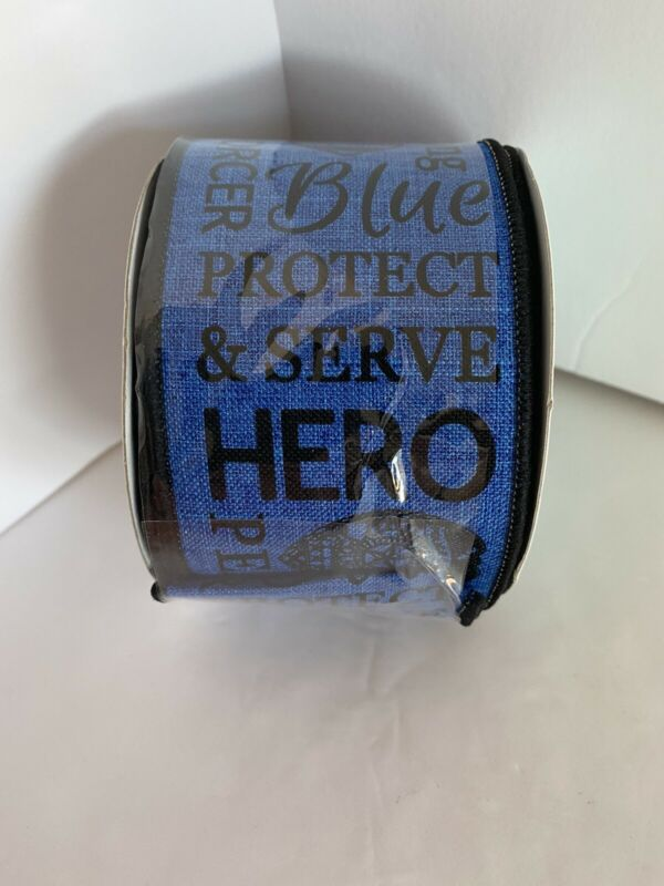 """Black and Royal Blue Wired Ribbon  2 1/2"""" x 10 Yards Police Support Hero"""