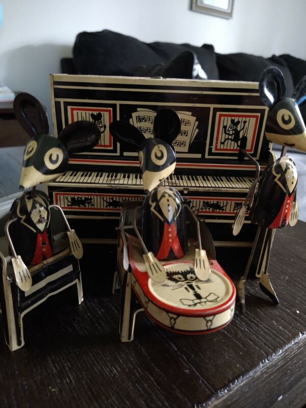 1930s LOUIS MARX MERRYMAKERS MOUSE BAND TIN WIND UP JIGGLING PIANO BAND