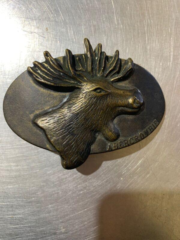 ABERCROMBIE & FITCH BELT BUCKLE  Moose Head Logo    VINTAGE  USA