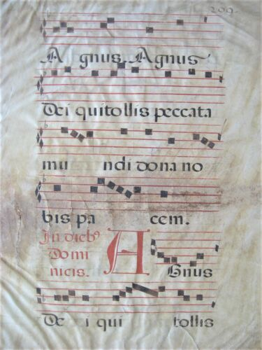 Rare 16th CENTURY Illuminated Antiphonal Music Manuscript on Vellum. Double side