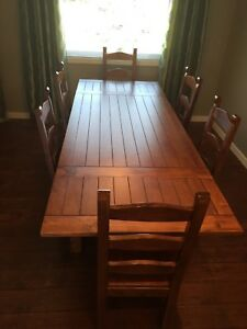 Beautiful solid wood table 6 chairs and buffet hutch