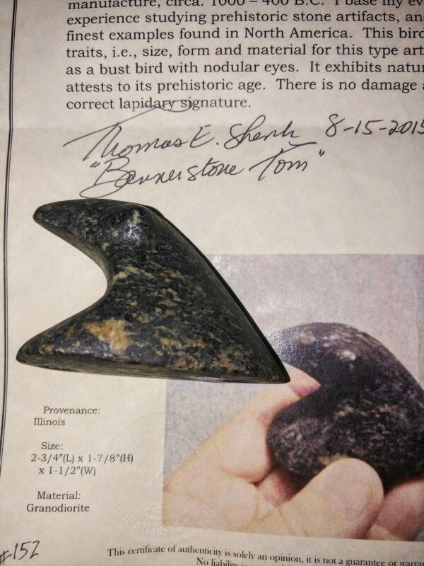 Bird Stone Bust  pre 1600/Illinois/BT.COA.