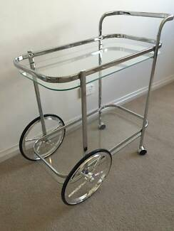 SILVER BAR CART Drink Trolley Hollywood Regency Style Kirribilli North Sydney Area Preview