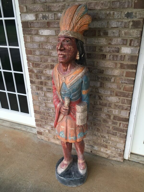 5Ft Hand Carved Wooden Native American Indian Statue Solid Wood Mayan Inca South