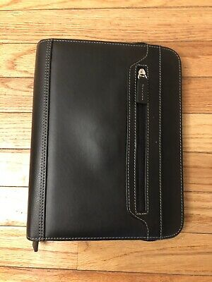 Franklin Covey Classic Black Zip Binder Euc Slightly Over 1 Inch Rings