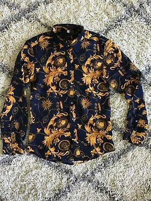 70s 80s Scraf Print Versace Inspired Vintage Shirt Size S/M Navy And Gold Yellow