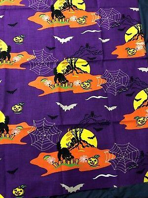 VTG Halloween Night Scene w/ Spooky Tree Bats Cat Pumpkins on Purple Fabric 27in - Spooky Scene